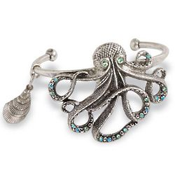 Octopus Cuff Bracelet with Crystals