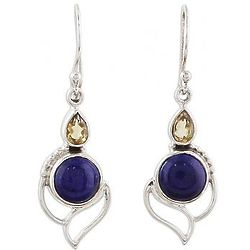 Starry Crest Citrine and Lapis Lazuli Dangle Earrings