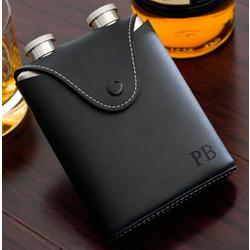 Double 3 oz. Stainless Flask in Black Leather Case