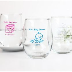 Personalized Baby Shower Stemless Wine Glass