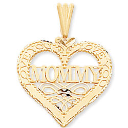 14k Yellow Gold 'Love You Mommy' Heart Pendant