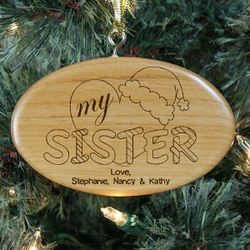 Engraved Heart My Sister Wood Oval Ornament