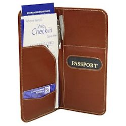 Leather Passport and Ticket Organizer