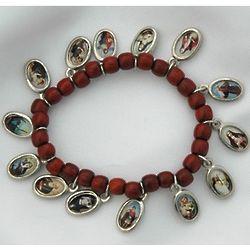 Brazilian Wood Children's Bracelet with Saints' Medals