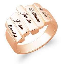 14K Gold Over Sterling Family Name Bar Ring