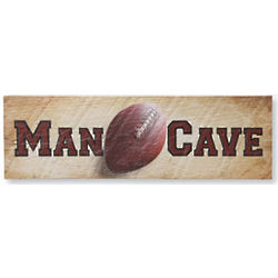 Man Cave with Football Wooden Sign