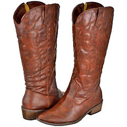 Brown Faux Leather Cowboy Boots