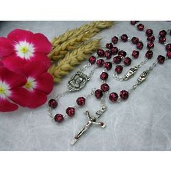 St. Pio of Pietrelcina Red Glass Bead Rosary