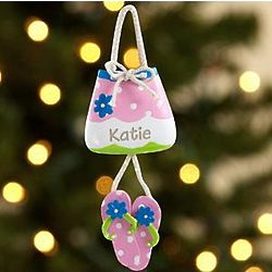 Personalized Tote and Flip Flops Ornament