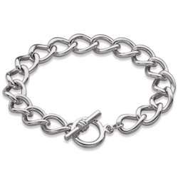 Silver Plated Cable Chain Toggle Bracelet