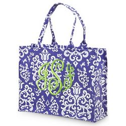 Embroidered Monogram Damask Tote
