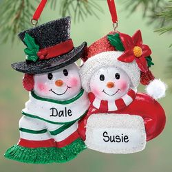 Personalized Old Fashioned Snow Couple Ornament