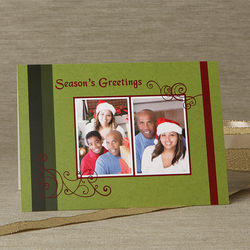 Personalized Happy Holidays Two Photo Christmas Cards