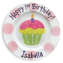 Girl's 1st Birthday Yummy Cupcake Personalized Plate