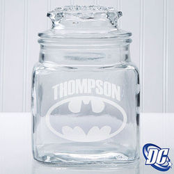 Batman Engraved Glass Jar