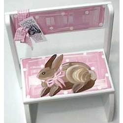 Pink Bunny Personalized Step Stool