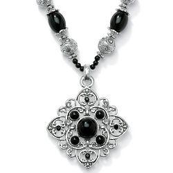 Glass Beaded Filigree Silvertone Pendant Necklace
