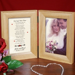 Marriage Takes Three Wood Bi-Fold Personalized Picture Frame