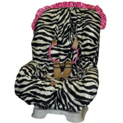 Zoe Zebra Toddler Car Seat Cover with Pink Ruffle