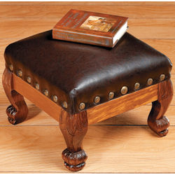 Wood and Embossed Leather Footstool