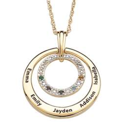 Diamond Family Name and Birthstone Circle Necklace