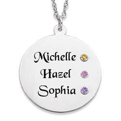 Sterling Silver Sister's Name and Birthstone Disc Necklace