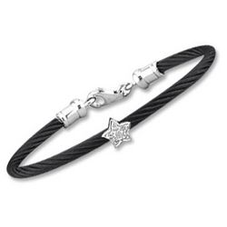 Children's Black Stainless Steel Diamond Star Bracelet