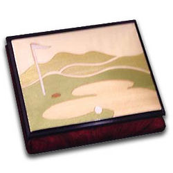 Wooden Golf Course Musical Jewelry Box