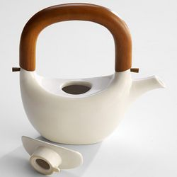 White Ceramic Teapot with Wooden Handle