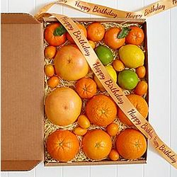 Simply Fresh Winter Citrus with Happy Birthday Ribbon