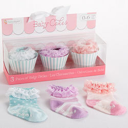 Baby Cakes Newborn Girl's Socks Gift Set