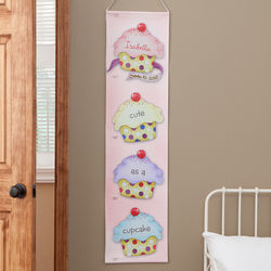 Girl's Personalized Cupcakes Growth Chart