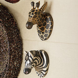 Carved Wood Safari Heads Wall Hangings
