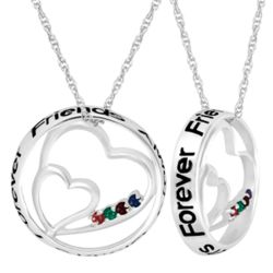 Sterling Always Sisters Circle Heart Four Birthstone Pendant