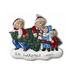 Bears Carrying Christmas Tree Personalized Ornament