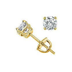 1/2 Carat Stud Earrings in 18K Yellow Gold
