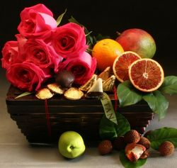 Three Part Harmony Fruit and Roses Gift Hamper