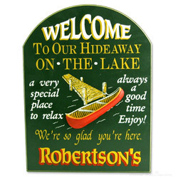 Lake Hideaway Personalized Sign