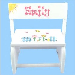 Personalized Butterfly and Flowers Flip Stool