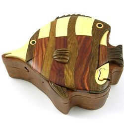Hand Carved Wooden Angelfish Puzzle Box