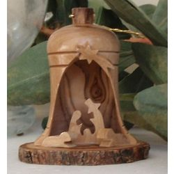 Olive Wood Nativity Scene Bell Ornament