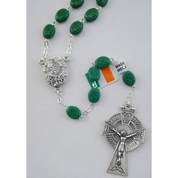 Green Shamrock Rosary with Knock Water