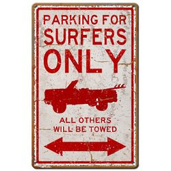 Surfer Parking Only Metal Sign