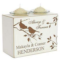 Bird Design Personalized Wedding Candle Holder Block