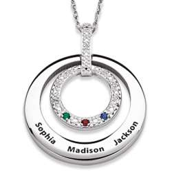 Family Name and Birthstone Circle Diamond Necklace