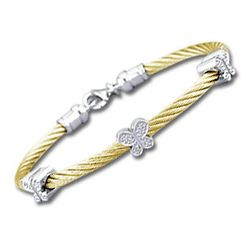Yellow Stainless Steel Diamond Butterfly Bracelet