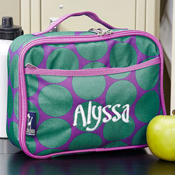 Girl's Polka Dots Personalized Lunch Bag