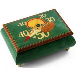 Football Theme Wood Inlay Musical Jewelry Box
