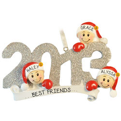 2013 Three Best Friends Glittered Numbers Ornament