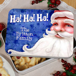 Personalized Santa Christmas Cookie Tin